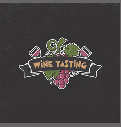 Wine tasting winery logo template drink vector