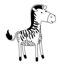 zebra cartoon in black dotted silhouette vector image