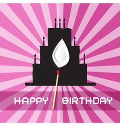 Birthday Background with Cake Silhouette vector image vector image