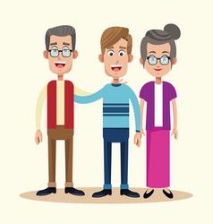 dad with grandfather and grandmother relation vector image vector image