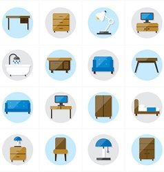 Flat Icons For Furniture Icons vector image vector image