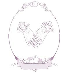 Gloves bride wedding accessories vector image