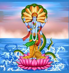 Lord vishnu standing on lotus giving blessing vector