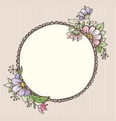 postcards doodle oval with flowers vector image vector image
