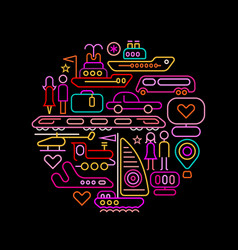 travel round shape neon colors vector image vector image