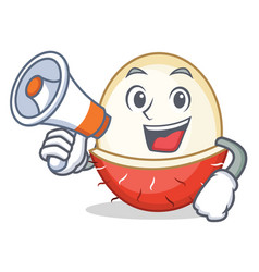 with megaphone rambutan character cartoon style vector image
