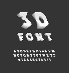 3d font plastic sans serif typeface letters vector image