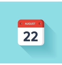 August 22 Isometric Calendar Icon With Shadow vector image
