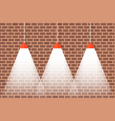 brick wall with hanging ceiling lamps with bright vector image