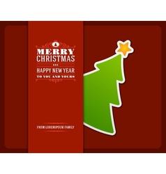 Christmas green tree invitation card vector image