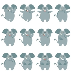 Elephant flat icons set vector image vector image