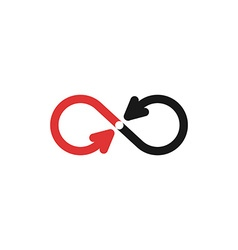 Infinity mockup logo black and red arrows vector image vector image