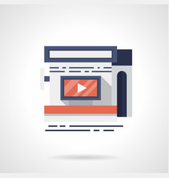 storefront with video ads flat color icon vector image vector image