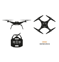 black silhouette of drone on a white background vector image