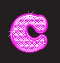 C letter pink bling vector image vector image