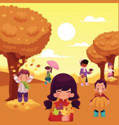 cartoon kids enjoy autumn activities outdoors vector image