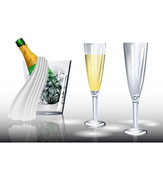 champagne in ice vector image vector image