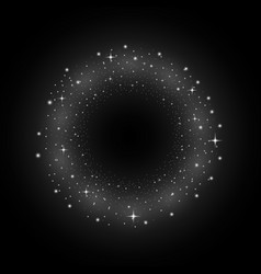 circle of glitter particles white color vector image