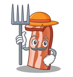 farmer bacon character cartoon style vector image