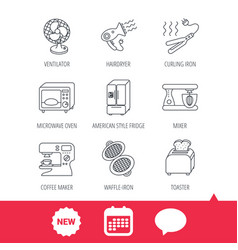 microwave oven hair dryer and blender icons vector image