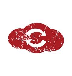 Red grunge reverse cloud logo vector image