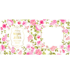 Spring syringa marriage card vector
