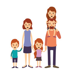 colorful image caricature big family parents with vector image vector image