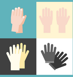 hand and gloves flat design vector image vector image