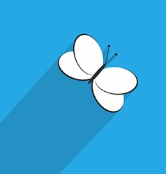 One Butterfly Icon in Flat Style with Long Shadow vector image vector image