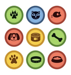 set of cat and dog icons in retro style vector image