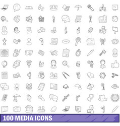 100 media icons set outline style vector