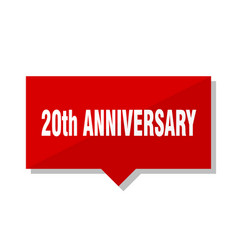 20th anniversary red tag vector image