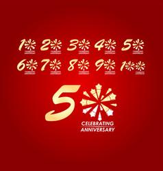 50 year celebrating anniversary set template vector