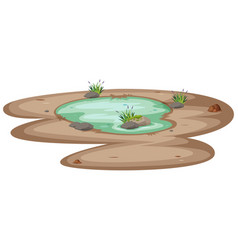 A small pond on white background vector