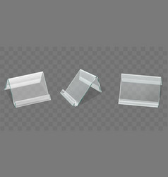 Acrylic table tent displays plastic card holders vector