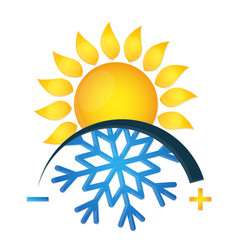 Air conditioning symbol snowflake and sun vector