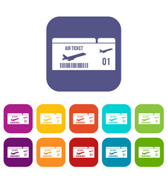 Airline boarding pass icons set vector