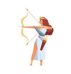 Artemis greek goddess ancient god hunt vector