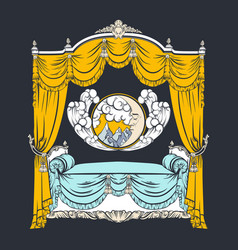baroque bed with baldachin and moon with face and vector image