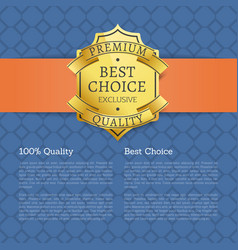 best choice 100 quality golden brand label icon vector image