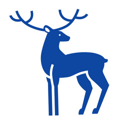 blue xmas deer icon simple style vector image