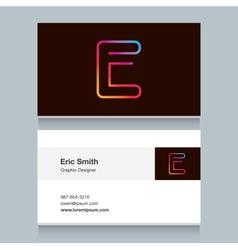 business card letter E vector image