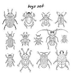 Cartoon bugs in set vector