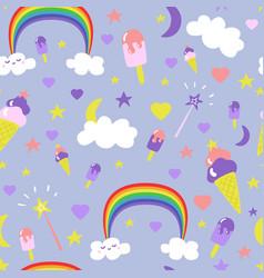 cartoon fantasy ice-cream seamless pattern vector image