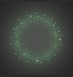 Circle of glitter particles green color vector