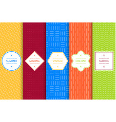 collection of bright colorful seamless geometric vector image
