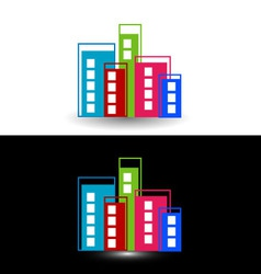 Colorful skyscrapers- logo for property business vector image