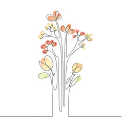 Continuous line drawing of flowers vector
