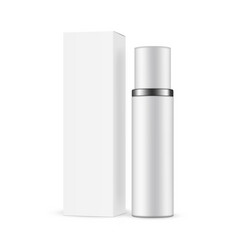 Cosmetic bottle with packaging box isolated vector