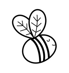 cute bee flying insect cartoon icon line style vector image